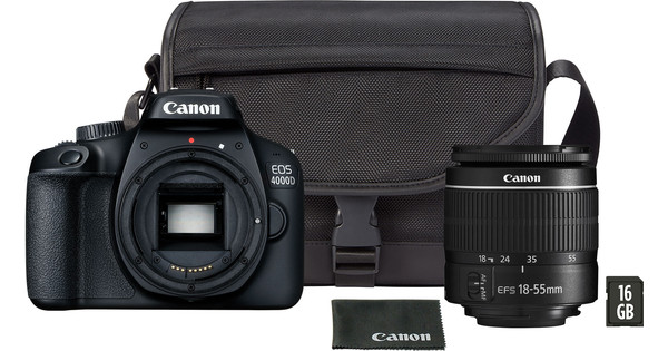 c32a3f2b9b46ca Canon EOS 4000D + 18-55mm DC + Sacoche + Carte Mémoire - Coolblue ...
