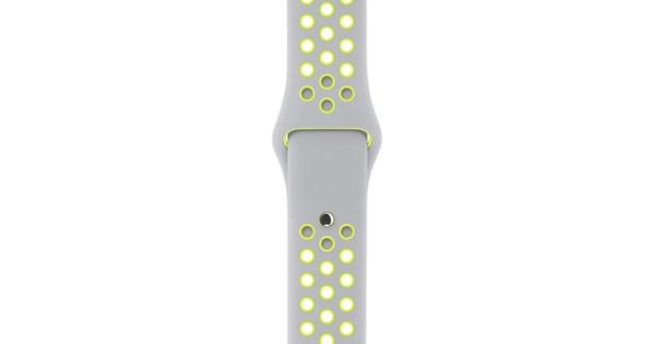 Apple Watch 38mm Siliconen Polsband Nike Sport Zilver/Geel