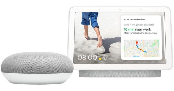 Google Nest Hub Chalk + Google Home Mini Wit