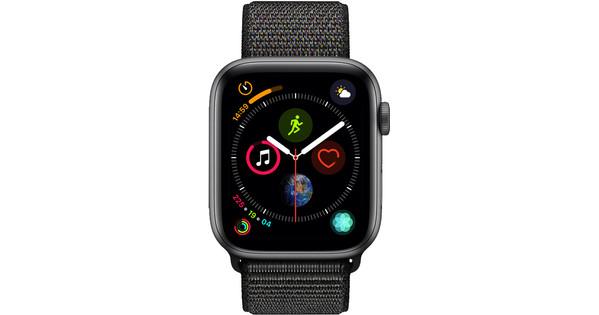 Apple Watch Series 4 44mm Space Gray Aluminium/Zwarte Nylon Sportband
