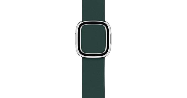 Apple Watch 40mm Modern Leren Horlogeband Bosgroen - Medium