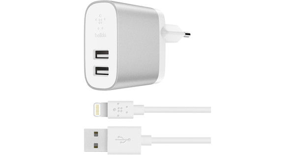 Belkin Double USB Boost Charge 4,8 A Argent
