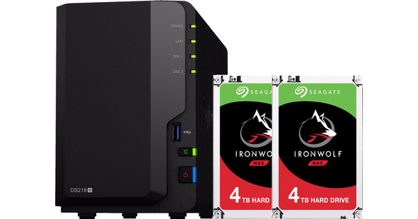 Synology DS218+ met 2x Seagate IronWolf 4 TB harde schijf