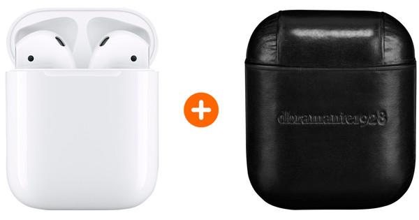 Apple AirPods 2 met oplaadcase +  AirPods Leren Hoesje