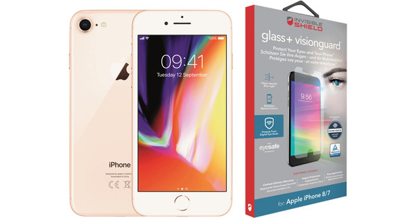 Apple iPhone 8 64 Go Or + InvisibleShield Glass+ VisionGuard Protège-écran