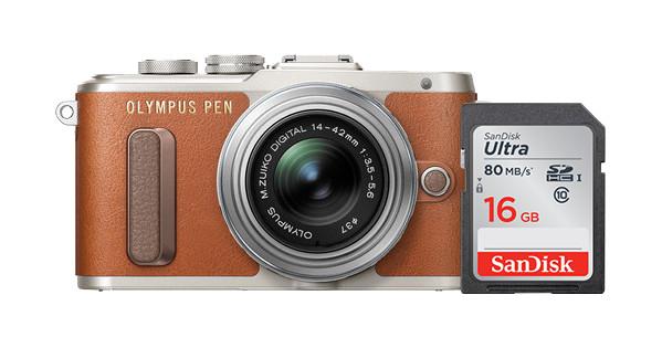 Olympus Pen E-PL8 Bruin + 14-42mm IIR Zilver + Sandisk 16GB Geheugenkaart
