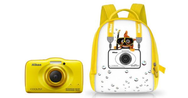 Nikon Coolpix S32 Yellow + Rugzak