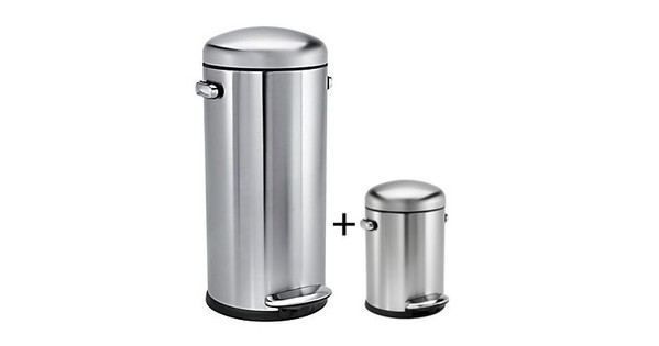 Simplehuman Retro Aanbieding.Simplehuman Retro Set 30 Liter 4 5 Liter Rvs Mat