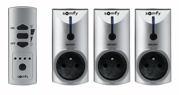 Somfy Set van 3 Stopcontacten + Afstandsbediening