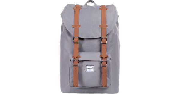 Herschel Little America Mid-Volume Gray   Tan Synthetic Leather ... 081bbd7b47625