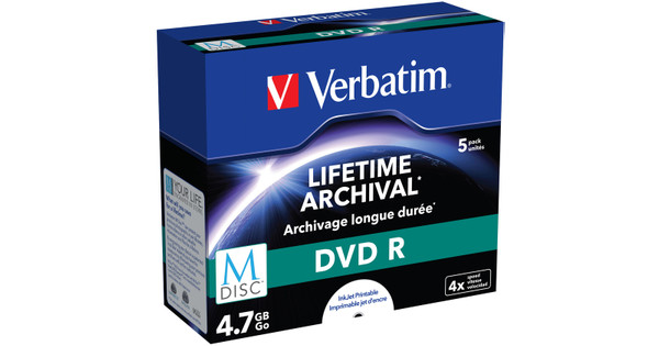 VERBATIM M-DISC DVD+R 4x 4.7GB IJ PRINTABLE 5 PACK JEWEL CASE