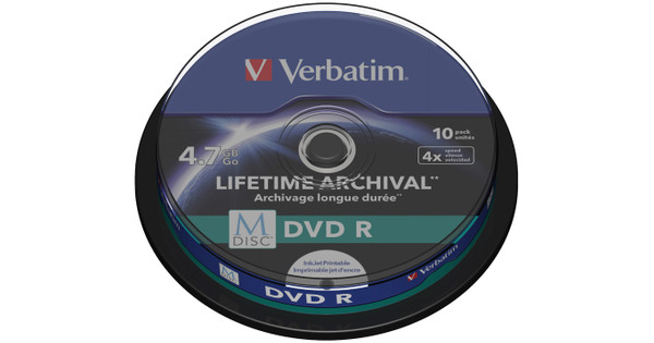 graphic about Verbatim Printable Dvd R titled VERBATIM M-DISC DVD + R 4x 4.7GB IJ PRINTABLE 10 PACK SP