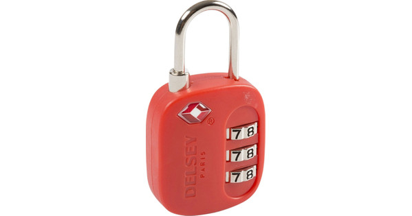 Delsey Travel Necessities TSA 3-Digit Padlock (USA) Red