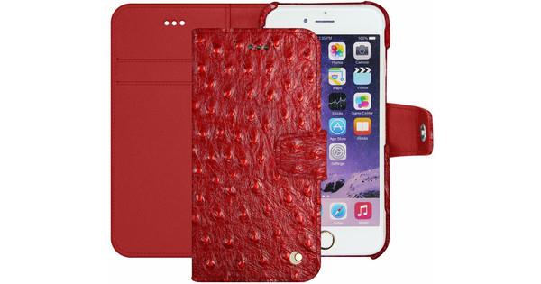 Noreve Tradition B Coque en Cuir d'Autruche pour Apple iPhone 7 Rouge