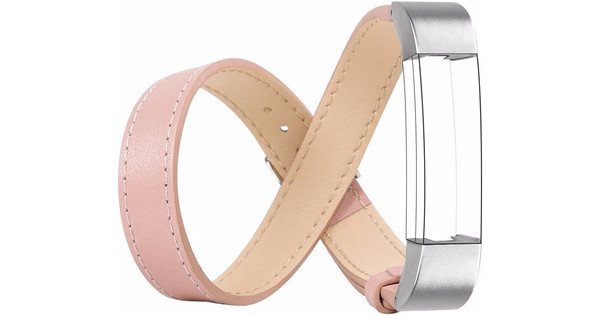 Just in Case Double Tour Leren Watchband Fitbit Alta Pink