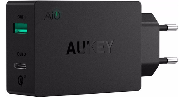 Aukey PA-Y2 Quick Charge 3.0 Oplader USB en USB C Zwart