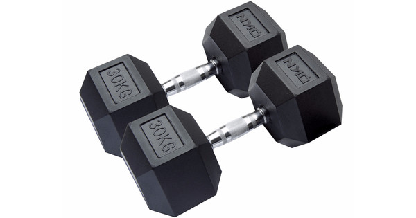 DKN Rubber Hex Dumbbells 2x 30 kg