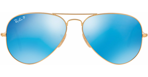 Ray-Ban Aviator RB3025/58 Matte Gold / Blue Mirror Polarized