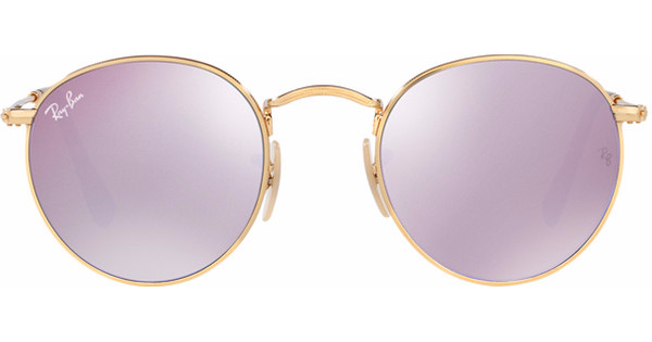 Ray Ban Ronde Glazen.Ray Ban Round Rb3447n Shiny Gold Wisteria Flash Violet