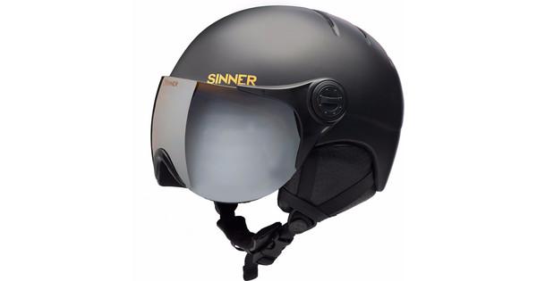 Sinner Crystal Matte Black + Oranje Vizier (53 - 54 cm)