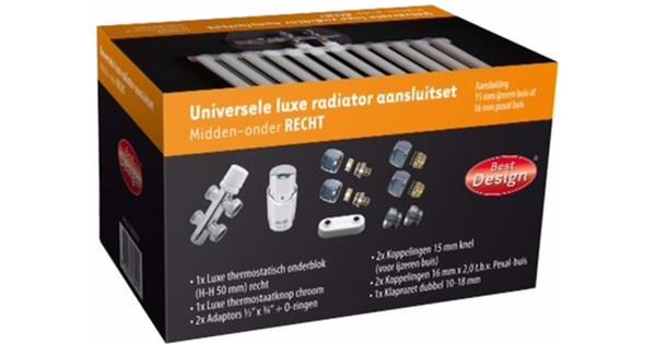 Best Design Universele Luxe Radiatoraansluitset Midden-Onder-Recht
