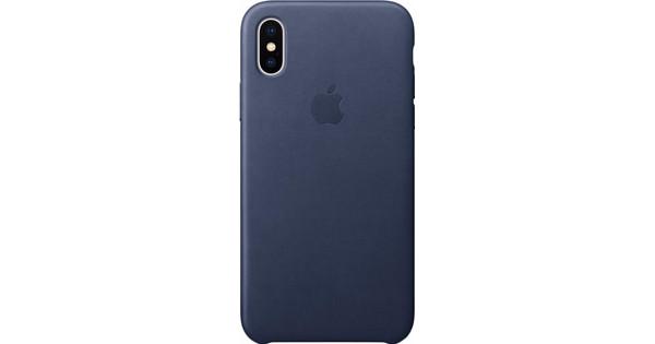 apple coque en cuir pour iphone x - bleu nuit