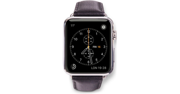 Copenhagen Apple Watch 42mm Leren Horlogeband Zwart/Zwart