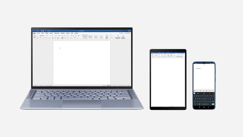 Laptop, smartphone en tablet.