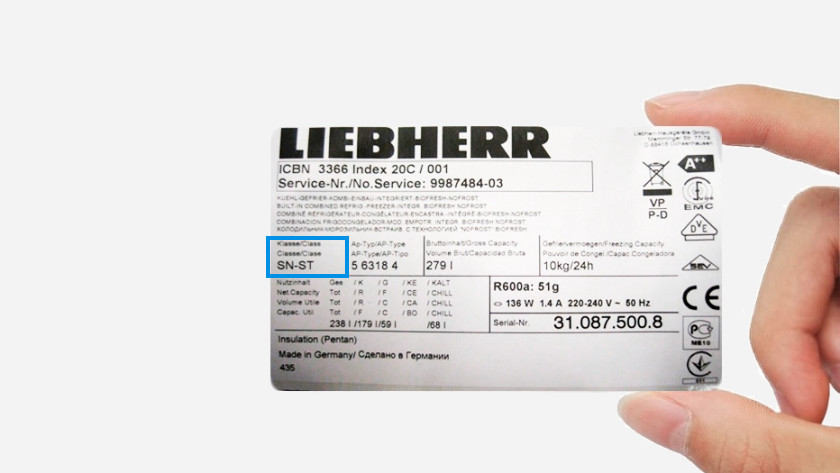 Climate label freezer