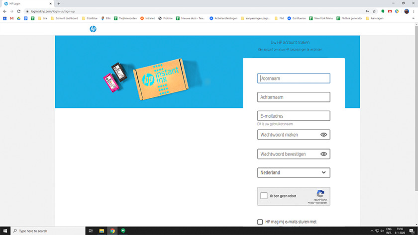 HP Instant Ink account aanmaken
