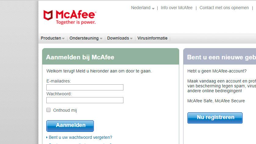 Aanmelden bij McAfee.