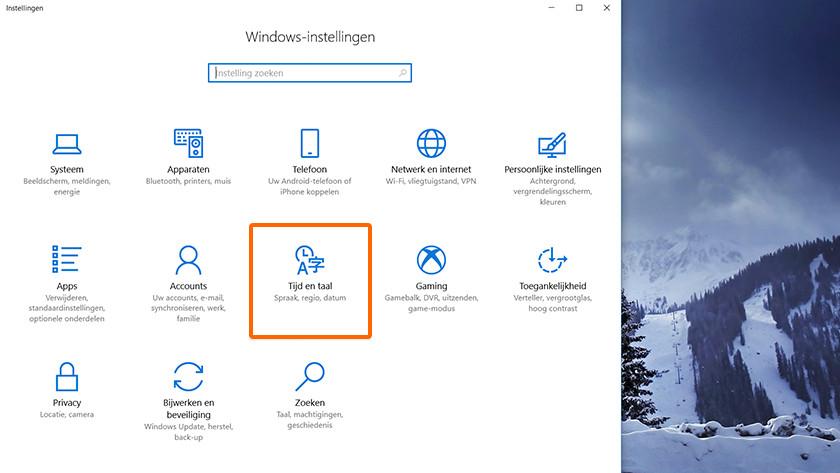 Het icoon Tijd en taal bij Windows instellingen.