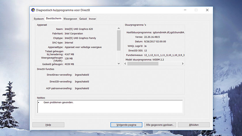 Outil de diagnostic DirectX sur Windows 10.