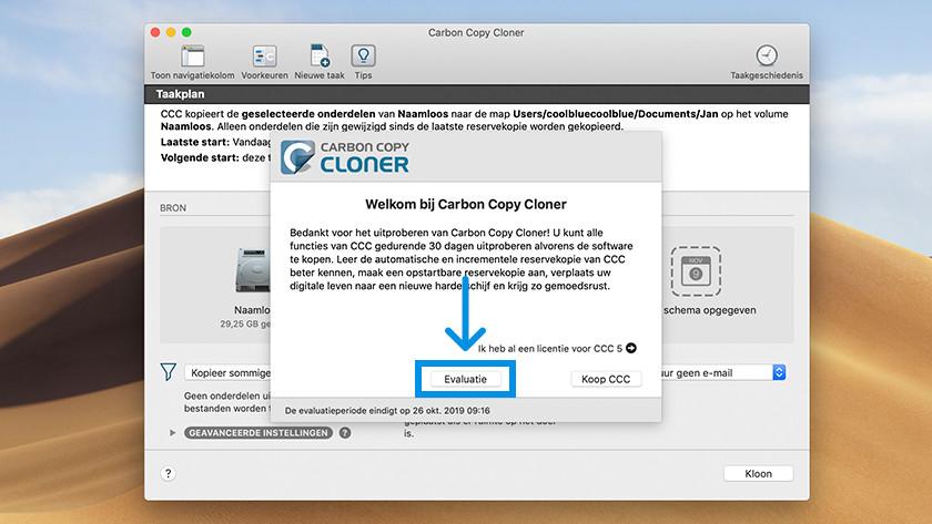 Evaluatie versie starten van Carbon Copy Cloner.