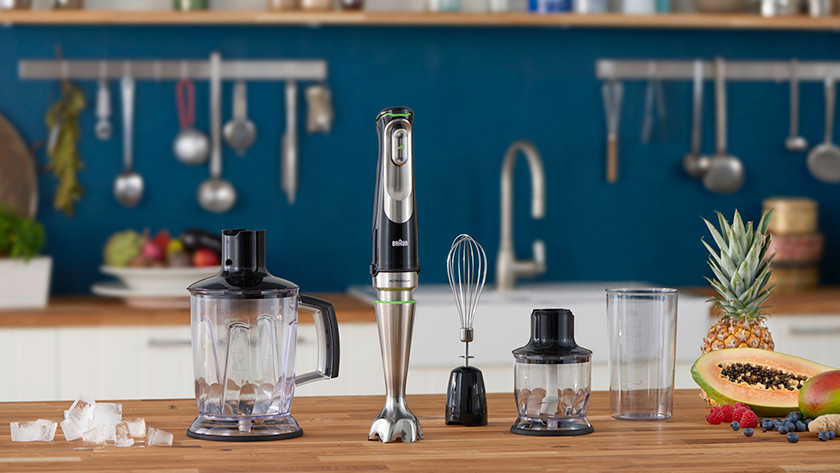 Immersion blenders with food chopper, balloon whisk, and measuring cup