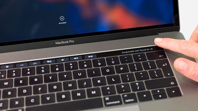 Touch ID op een Touch Bar MacBook.