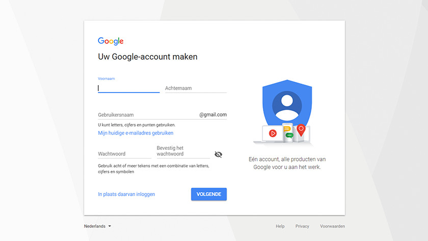 Een Google account aanmaken.
