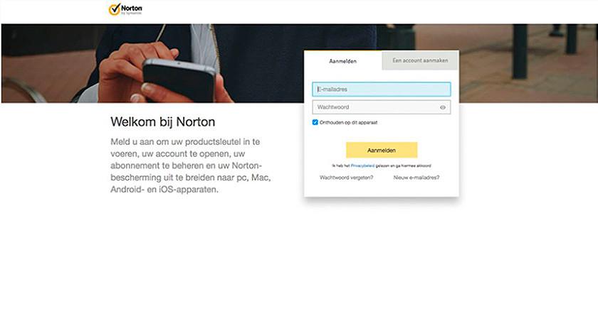 Productcode Norton invoeren