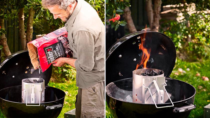 Allumez un barbecue avec une cheminée d'allumage