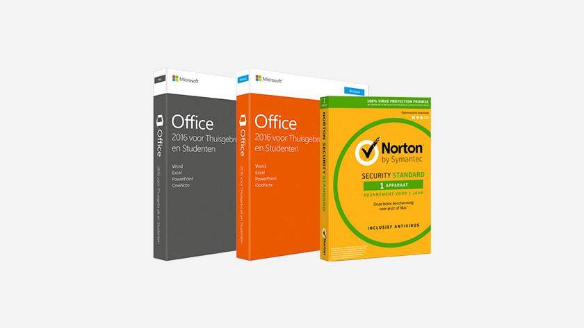Logiciels Norton et Office dans la boite.