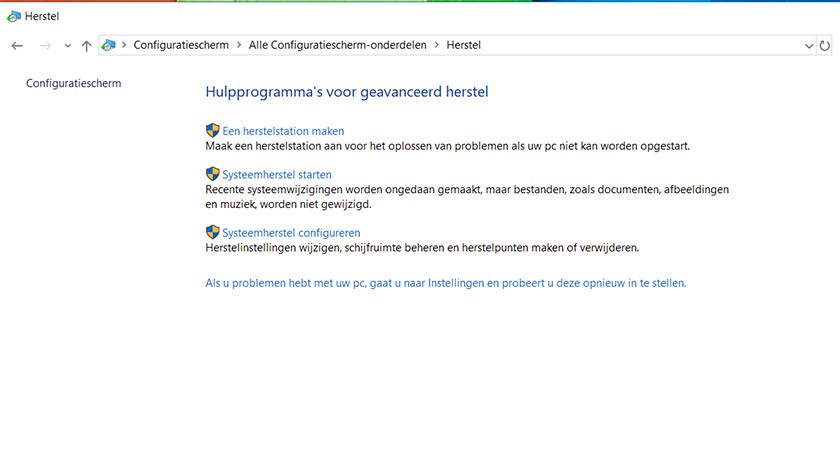 Systeemherstel op een Windows 10 laptop.