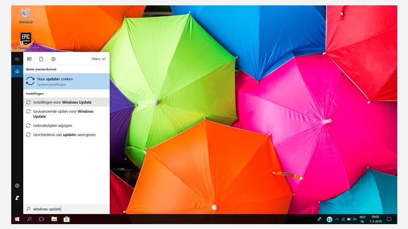 Zoek naar 'Windows update'