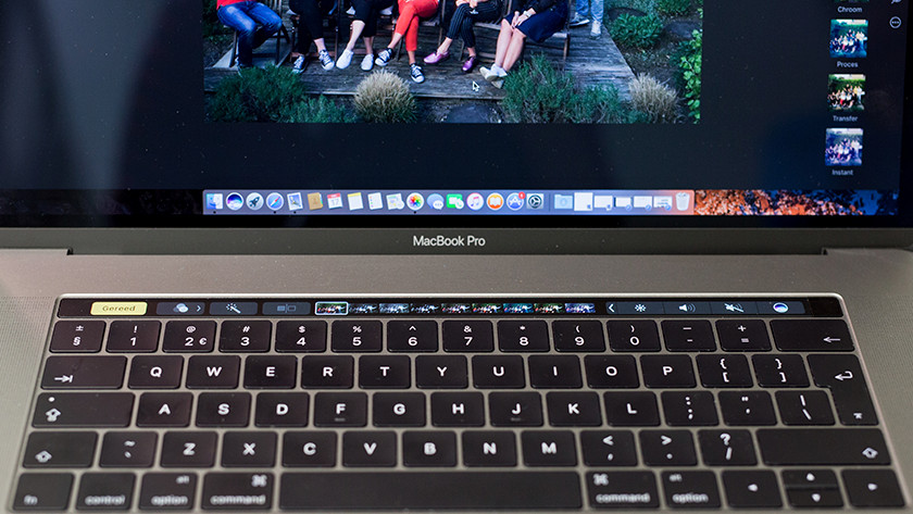 Foto's bewerken op Touch Bar MacBook.