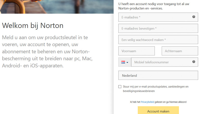 Account aanmaken Norton