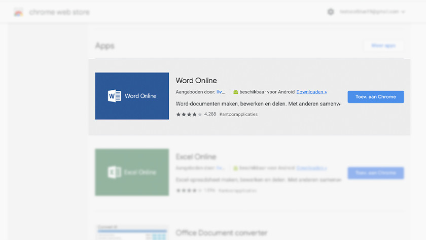 Word Online in Chrome Web Store.