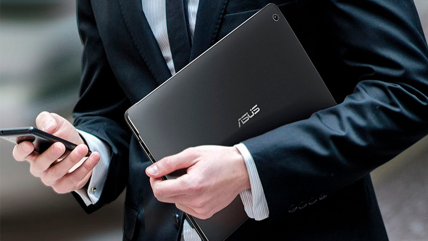 Man takes an Asus laptop with him on the go.