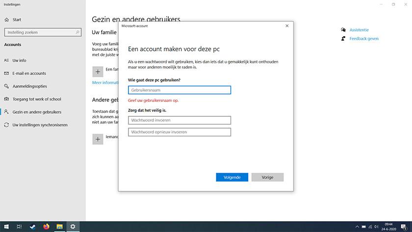 Create a local user account in Windows 10.