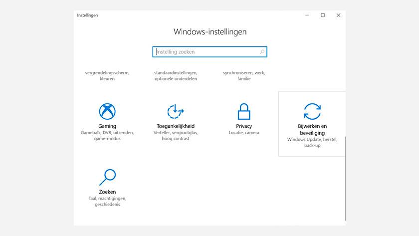 Windows instellingen menu. Bijwerken en beveiliging.