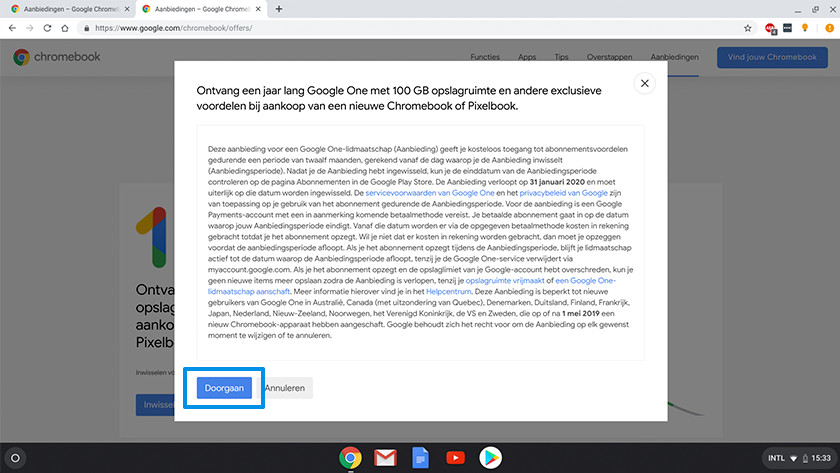 Algemene voorwaarden 100 gigabyte opslagruimte Chromebook