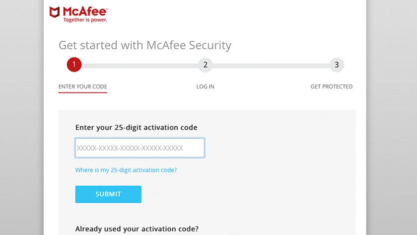 Activeringscode invoeren bij McAfee installatie.